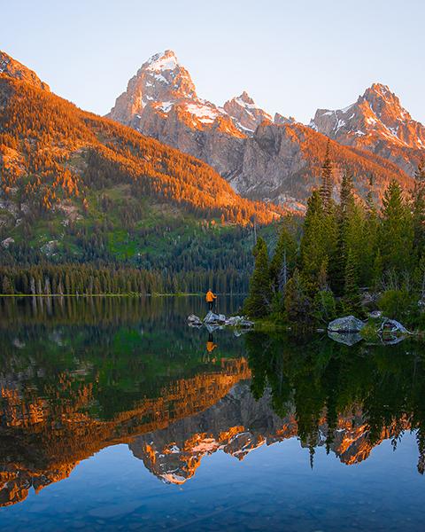 Mountain ridge and lake